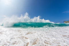 Hawaiian Bright Blue Shorebreak Pacific ocean wave Stock Photos