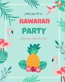 Hawaiian bright invitation with flamingos, pineapple, foliage and text Royalty Free Stock Photo
