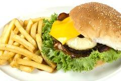 Hawaiian burger and chips Stock Photography