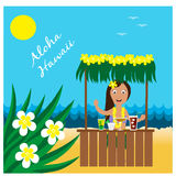 Hawaiian cards with hula pretty girl Stock Photos