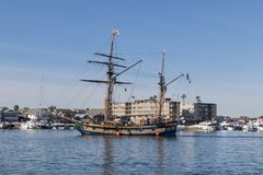 The Hawaiian Chieftain sailing ship. The Hawaiian chieftain passenger sailing vessel in Newport Beach Harbor in Orange County, Southern California stock images