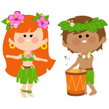 Hawaiian children playing music with a drum and hula dancing Stock Photo