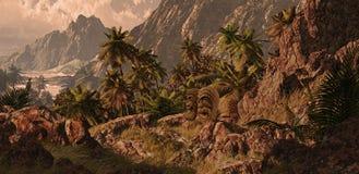 Hawaiian Coastline. A Hawaiian rocky coastline with tiki statues Royalty Free Stock Image