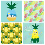 Hawaiian collection with seamless patterns and cards Stock Image