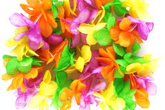 Hawaiian colorful flowers. Made from fabric royalty free stock photo