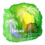 Hawaiian da aquarela, projeto gráfico tropical Foto de Stock