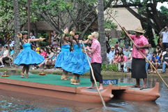 Hawaiian dance at a canoe pageant Stock Images
