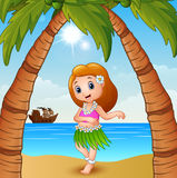 Hawaiian dancer girl on the beach. Illustration of Hawaiian dancer girl on the beach Stock Images