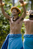 Hawaiian Dancers on Canoe Royalty Free Stock Image