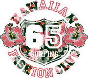 Hawaiian fashion club. Vector artwork for girl summer t shirt royalty free illustration