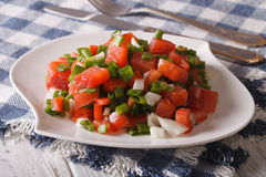 Hawaiian festive salad with salted salmon with vegetables close- Stock Photos