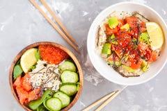 Hawaiian fish poke bowl Stock Photos