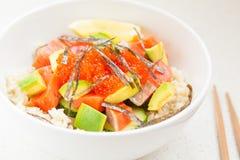 Hawaiian fish poke bowl Stock Image