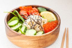 Hawaiian fish poke bowls Stock Images