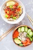 Hawaiian fish poke bowls Stock Photo