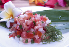 Hawaiian Food (Lomilomi salmon) Royalty Free Stock Image