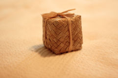 Hawaiian Gift Box. Woven from lauhala and tied with rafia Stock Photo
