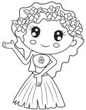 Hawaiian girl coloring page Stock Images