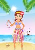 Hawaiian girl with garland Royalty Free Stock Photo