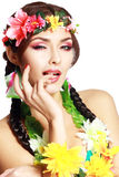 Hawaiian girl make up Stock Photo