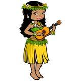Hawaiian girl playing the ukulele Royalty Free Stock Photo