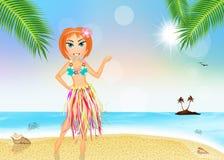Hawaiian girl in summer Stock Photos