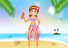 Hawaiian girl in summer Royalty Free Stock Images