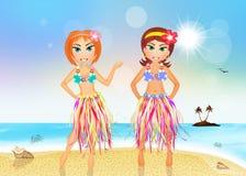 Hawaiian girls on the beach. Illustration of Hawaiian girls on the beach Royalty Free Stock Photography