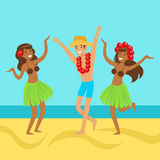 Hawaiian girls and happy man dancing on on a tropical beach Stock Photography