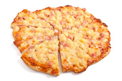 Hawaiian ham and pineapple pizza Royalty Free Stock Photo