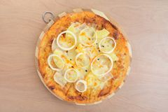 Hawaiian Ham and Pineapple Pizza Royalty Free Stock Photography