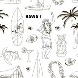 Hawaiian, Hawaii Set pattern Royalty Free Stock Photos