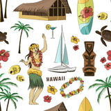 Hawaiian, Hawaii Set pattern Stock Image