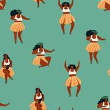 Hawaiian Hula dance girls dancing and playing guitar seamless pattern in vector Stock Photography