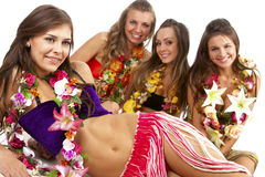 Hawaiian Hula Dancer Girls Stock Photography