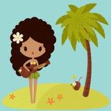 Hawaiian Hula Dancer Is Singing Royalty Free Stock Image