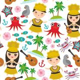 Hawaiian Hula Dancer Kawaii boy girl seamless pattern, set of Hawaii symbols with a guitar ukulele flowers parrot fish crab octopu. S anchor flower sea ocean Royalty Free Stock Images