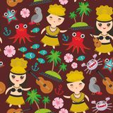 Hawaiian Hula Dancer Kawaii boy girl seamless pattern, set of Hawaii symbols with a guitar ukulele flowers parrot fish crab octopu. S anchor flower sea ocean Stock Image