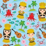 Hawaiian Hula Dancer Kawaii boy girl seamless pattern, set of Hawaii symbols with a guitar ukulele flowers parrot fish crab octopu. S anchor flower sea ocean Stock Photos