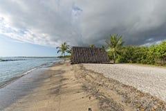 Hawaiian hut on the beach. On big island royalty free stock photos