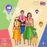 Hawaiian Indian family in national dress, vector illustration Royalty Free Stock Photography