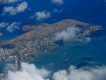 Hawaiian island. Island with coluds in the Hawaii Stock Photography