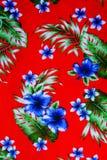 Hawaiian jungle print made of textured cotton cloth Royalty Free Stock Photos