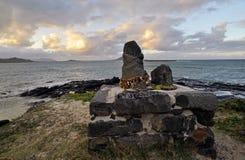 Hawaiian Lava Rock Idols and the ocean Royalty Free Stock Images