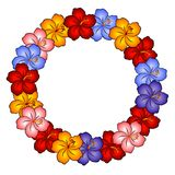 Hawaiian Lei Hibiscus Flowers. A clip art illustration of hawaiian hibiscus flowers in gold orange, pink, blue, purple, red and white in the shape of a lei ring Royalty Free Stock Photos