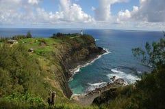 Hawaiian Lighthouse. A lighthouse on the tip of a point of land on the Hawaiian island of Kauai Stock Photos