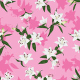 Hawaiian lilies pink seamless vector print Royalty Free Stock Images