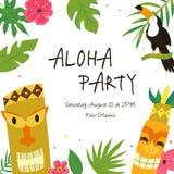 Hawaiian Luau Party invitation template, banner stock illustration