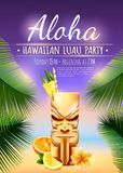 Hawaiian Luau Party Poster. With tiki mug, citrus fruits, flower, palm branches on blurred background vector illustration Royalty Free Stock Images