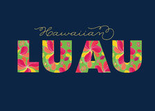 Hawaiian Luau Tropical Text, Card, Invitation Template Royalty Free Stock Images